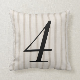 Farmhouse Beige Linen Ticking Stripes Number Throw Pillow