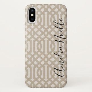 Farmhouse Beige Linen Trellis Monogram Case-Mate iPhone Case