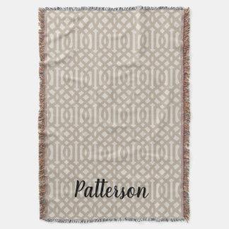 Farmhouse Beige Linen Trellis Monogram Throw Blanket