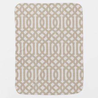 Farmhouse Beige Linen Trellis Pattern Baby Blanket
