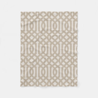 Farmhouse Beige Linen Trellis Pattern Fleece Blanket