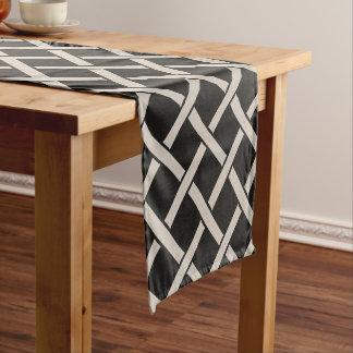 Farmhouse Black Linen Lattice Table Runner