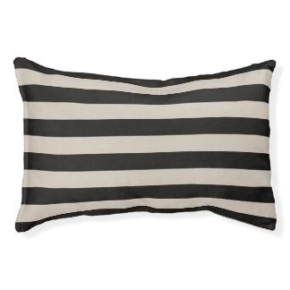 Farmhouse Black Linen Stripes Dog Bed