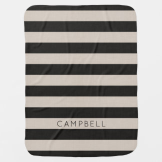 Farmhouse Black Linen Stripes Monogram Baby Blanket