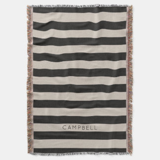 Farmhouse Black Linen Stripes Monogram Throw Blanket