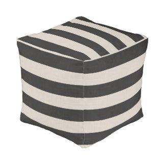 Farmhouse Black Linen Stripes Pouf