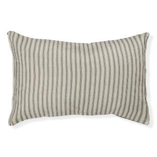 Farmhouse Black Linen Ticking Stripes Dog Bed