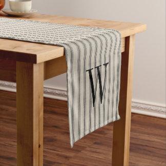 Farmhouse Black Linen Ticking Stripes Monogram Short Table Runner