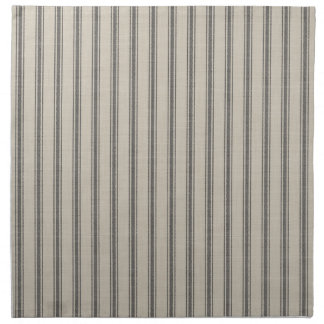 Farmhouse Black Linen Ticking Stripes Napkin