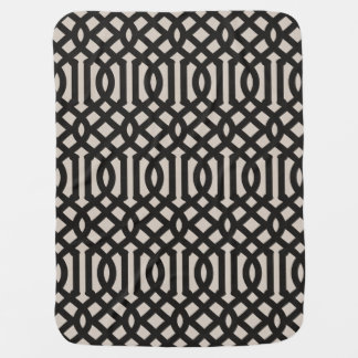 Farmhouse Black Linen Trellis Pattern Baby Blanket
