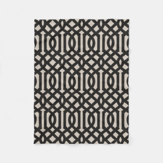 Farmhouse Black Linen Trellis Pattern Fleece Blanket