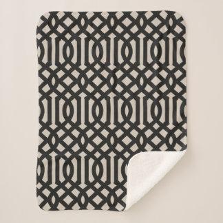 Farmhouse Black Linen Trellis Sherpa Blanket
