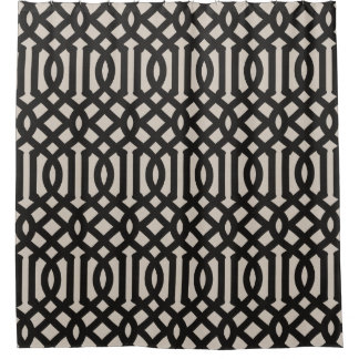 Farmhouse Black Linen Trellis Shower Curtain
