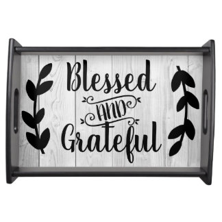 Farmhouse Blessed & Grateful Laurel Faux Gray Wood Serving Tray
