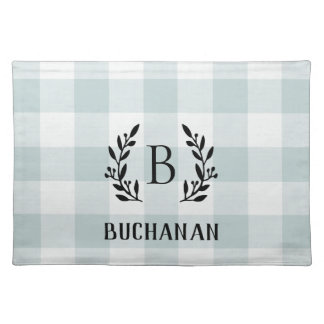 Farmhouse Blue Buffalo Check Family Monogram Placemat