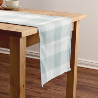 Farmhouse Blue Buffalo Check Short Table Runner