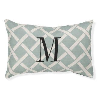 Farmhouse Blue Linen Lattice Monogram Dog Bed