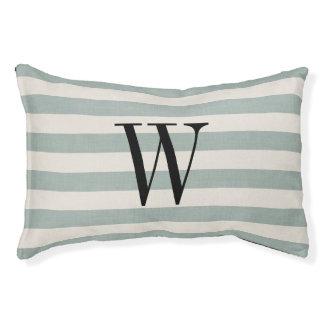 Farmhouse Blue Linen Stripes Monogram Dog Bed