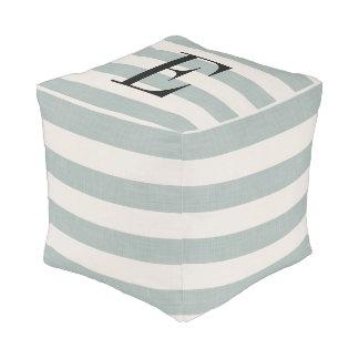 Farmhouse Blue Linen Stripes Monogram Pouf