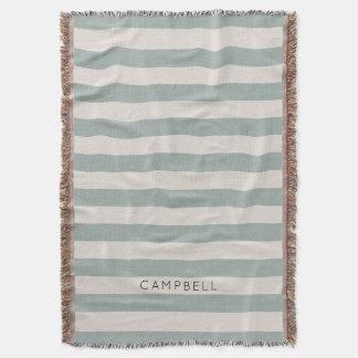 Farmhouse Blue Linen Stripes Monogram Throw Blanket