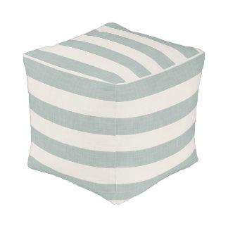 Farmhouse Blue Linen Stripes Pouf