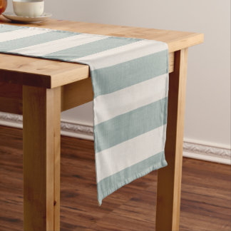 Farmhouse Blue Linen Stripes Short Table Runner