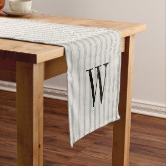 Farmhouse Blue Linen Ticking Stripes Monogram Short Table Runner