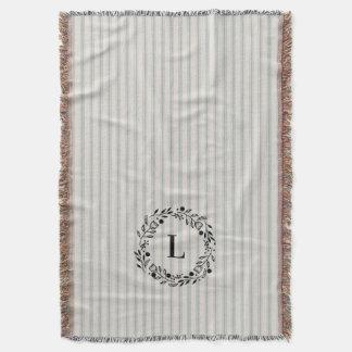 Farmhouse Blue Linen Ticking Stripes Monogram Throw Blanket