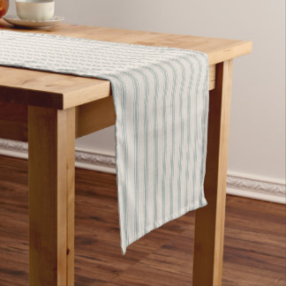 Farmhouse Blue Linen Ticking Stripes Short Table Runner