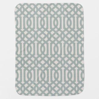 Farmhouse Blue Linen Trellis Pattern Baby Blanket