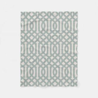 Farmhouse Blue Linen Trellis Pattern Fleece Blanket