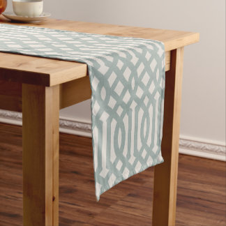 Farmhouse Blue Linen Trellis Short Table Runner