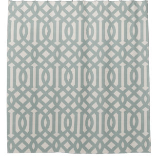 Farmhouse Blue Linen Trellis Shower Curtain