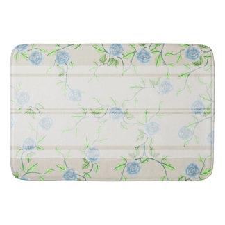 Farmhouse Chic Blue Roses & White Stripe Bathroom Mat