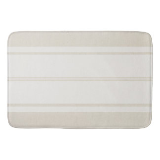 Farmhouse Chic Creamy Taupe & White Stripe Bath Mat