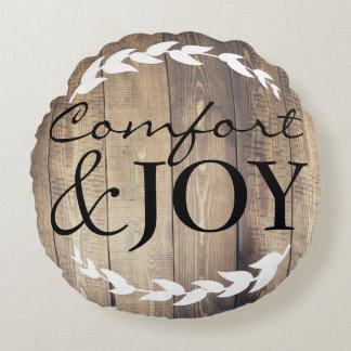 Farmhouse Comfort & JOY Family Name White Laurels Round Pillow
