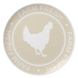 Farmhouse Country Chic Farm Fresh White Hen Plate