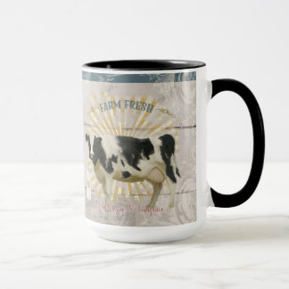 Farmhouse Farm Fresh Milk Cow Shiplap Boards Art Mug
