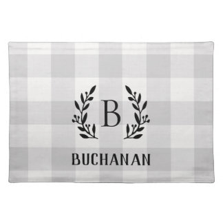 Farmhouse Gray Buffalo Check Family Monogram Placemat