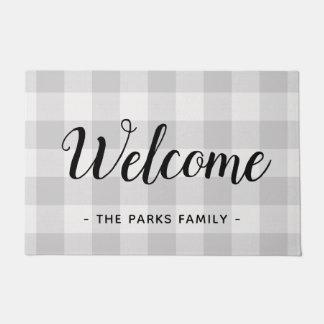 Farmhouse Gray Buffalo Check Monogram Doormat