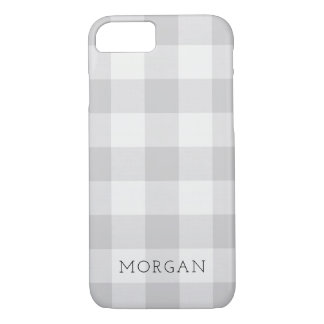 Farmhouse Gray Buffalo Check Monogram iPhone 8/7 Case