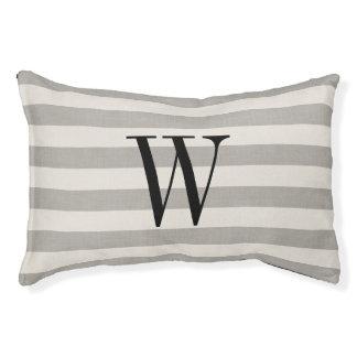 Farmhouse Gray Linen Stripes Monogram Dog Bed