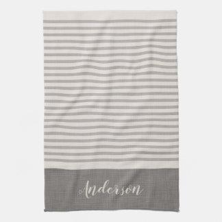 Farmhouse Gray Linen Stripes Monogram Kitchen Towel