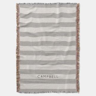 Farmhouse Gray Linen Stripes Monogram Throw Blanket