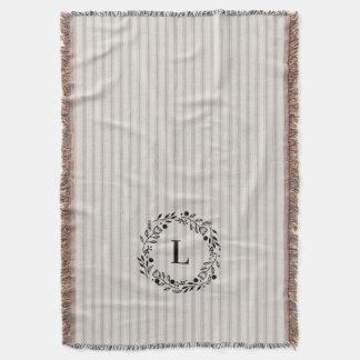 Farmhouse Gray Linen Ticking Stripes Monogram Throw Blanket