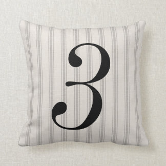 Farmhouse Gray Linen Ticking Stripes Number Pillow