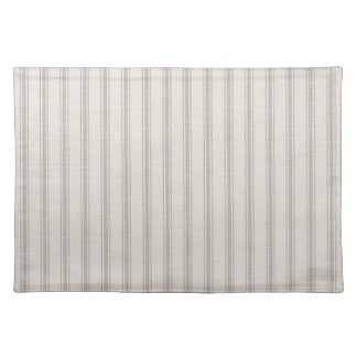 Farmhouse Gray Linen Ticking Stripes Placemat