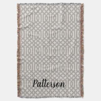 Farmhouse Gray Linen Trellis Monogram Throw Blanket