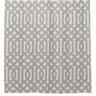 Farmhouse Gray Linen Trellis Shower Curtain