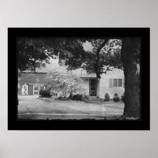 Farmhouse Landscape Black & White Homestead Poster